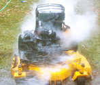 Mower on fire